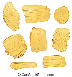 Gold paint stokes isolated