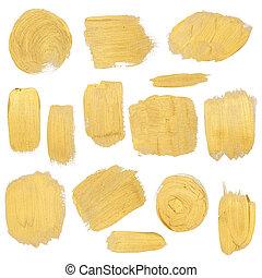 Gold paint stokes set