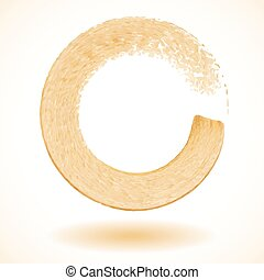 Gold paintbrush circle vector frame