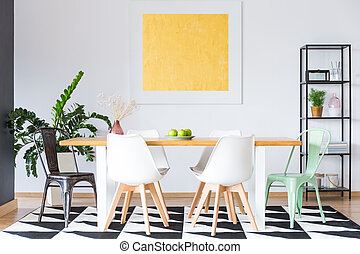 Gold painting in dining room