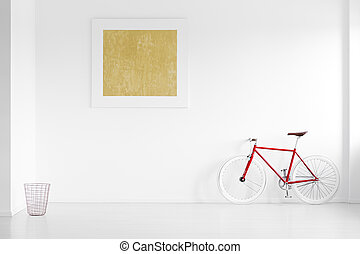 Gold painting in empty interior