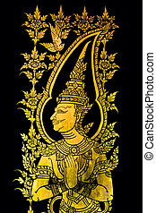 Gold painting In the ancient temple, Thailand.