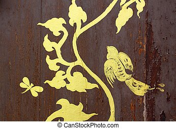 gold painting on wood texture