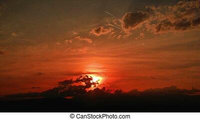 gold panorama sunset time lapse 4k