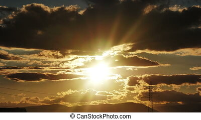 gold panorama sunset time lapse