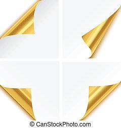 Gold Paper Corner Folds - Set of four gold paper corner...