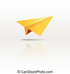 Gold paper plane on white background