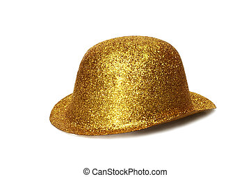 Gold Party Hat - A gold glitter party hat isolated on white...