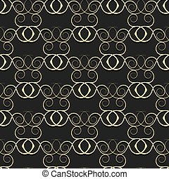 Gold pattern from curls on a black background.