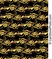 Gold pattern - Seamless wallpaper with golden pattern. five...