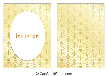 Gold pattern wedding invitation