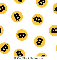 Gold pattern with bitcoin - Seamless gold pattern with...
