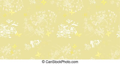 Gold pattern with plants and butterfly.