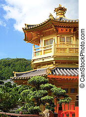 Gold pavilion in Chi lin Nunnery, Hong Kong