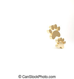 Gold Paw print icon isolated on white background. Dog or cat...