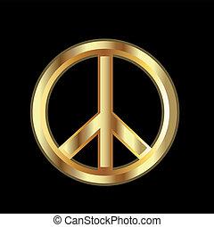 Gold Peace symbol