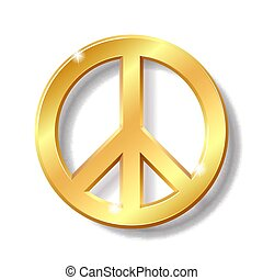 Gold peace symbol isolated on white background