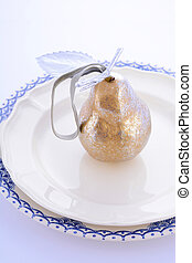 Gold Pear Table Place Setting.