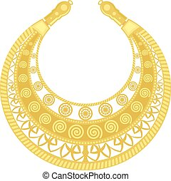 Gold pectoral on a white background. Old woman's jewelry. Golden detail of the female