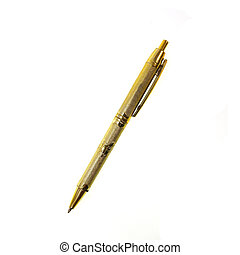 gold pen isolated on white background