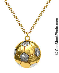 Gold pendant in shape of soccer ball on chain isolated on...