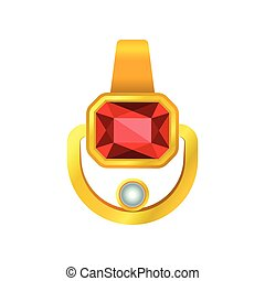 Gold pendant with a ruby without a chain. Vector illustration.