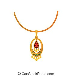 Gold pendant with precious stones on a chain. Vector illustration.