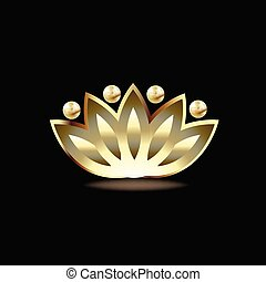Gold people lotus flower logo