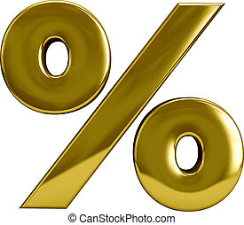 Gold Percentage Sygn - Gold metal percentage sign symbol...