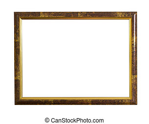 gold photo frame over white background