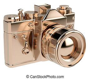gold photocamera isolated on white background