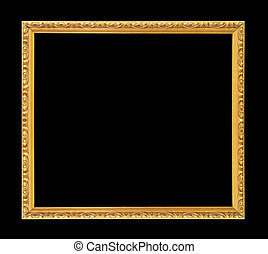 gold picture frame. Isolated over black background