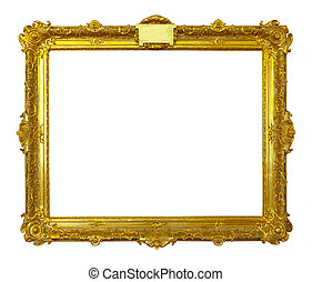 gold picture frame. Isolated over white