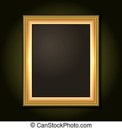 Gold Picture Frame. Isolated Over Dark Background. Vector.