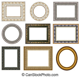 Gold picture frames with a decorative pattern