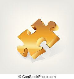 Gold piece of puzzle business logo