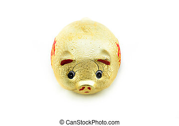 Gold piggy on white background with clipping path