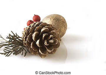 Gold pine tree cone, isolated