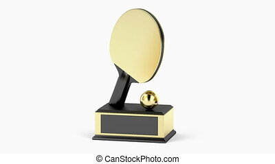 Gold ping pong trophy on white background