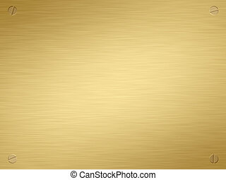 finely brushed gold plaque with screws in the corners