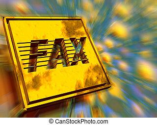 Gold plate, fax speed. - 3D illustration, wallpaper, ...