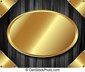 Gold plate on dark wooden background 2