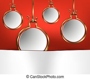Gold-plated Christmas balls on a red background