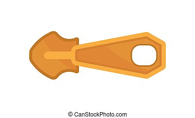 Gold plated metal slider for bag or clothing. Zipper pull. Flat vector icon on white background