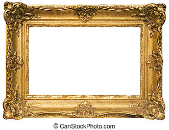 Antique golden picture frame isolated on a white background. File contains clipping path.