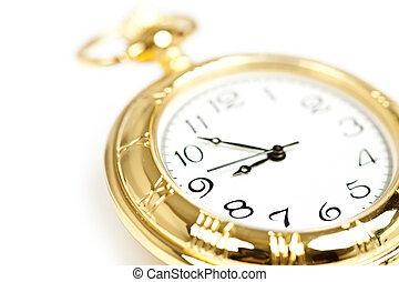 Gold pocket watch - Close up on old styled gold pocket watch...
