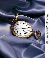 Gold Pocket Watch - Gold pocket watch on satin