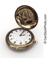 Gold pocket watch isolated on white background. 3D