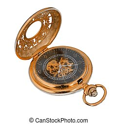 Gold pocket watch on a plain white background.