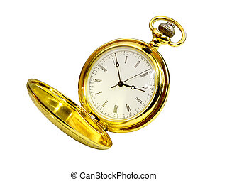 gold pocket watch on a white background